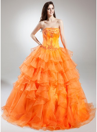 Ball-Gown Strapless Floor-Length Organza Quinceanera Dress With Beading Appliques Lace Cascading Ruffles