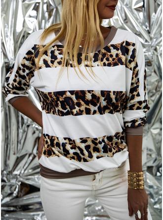 Patchwork Leopard Round Neck Long Sleeves Sweatshirt
