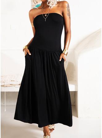 Sukienka Trapezowa Bez ramiączek Poliester Modne Suknie