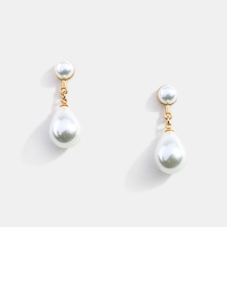 Ladies' Romantic Alloy/S925 Sliver Imitation Pearls Earrings For Bride