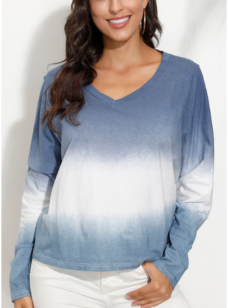 Tie Dye V-Neck 3/4 Sleeves Casual T-shirt
