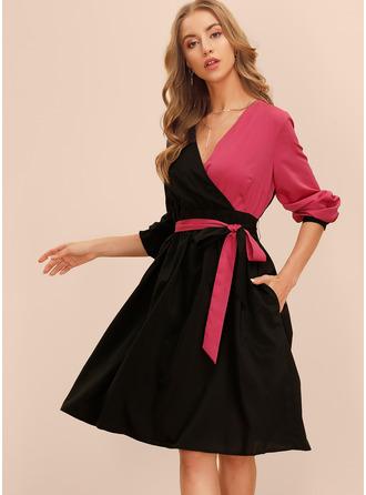 Color Block A-linjeklänning Långa ärmar Midi Elegant skater Bolerojackor Modeklänningar