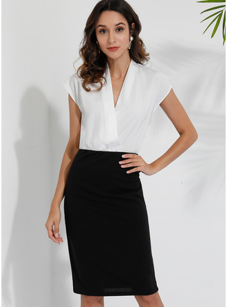 Knee Length V neck Polyester Color-block Short Sleeves Fashion Dresses