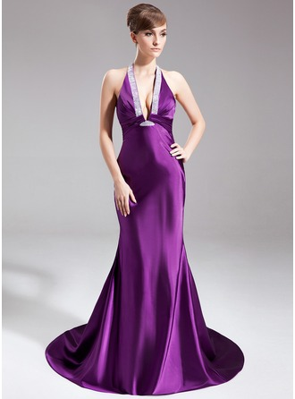 Trumpet/Mermaid Halter Court Train Charmeuse Evening Dress With Ruffle Beading