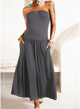 Solid A-line Sleeveless Maxi Casual Dresses