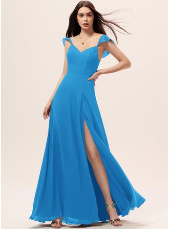 A-Line V-neck Floor-Length Chiffon Bridesmaid Dress With Split Front