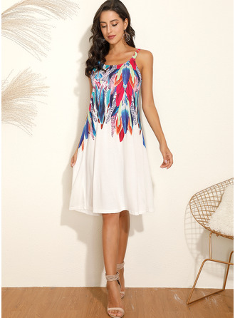 Knee Length Round Neck Polyester Print Sleeveless Fashion Dresses
