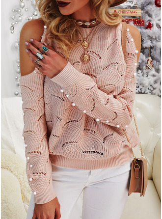 Cold Shoulder Casual Beaded Solid Sweaters