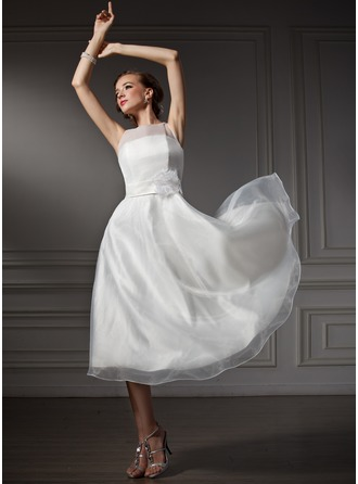 A-Line/Princess Scoop Neck Tea-Length Satin Wedding Dress With Flower(s)