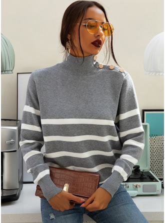 Turtleneck Casual Striped Sweaters