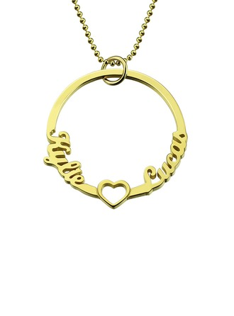 Individualisiert Unisex Schickes Vergoldet mit Runde Name Halsketten Ihr/Braut
