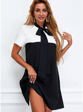 Color Block Shift Short Sleeves Mini Casual Tunic Dresses