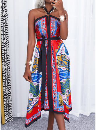 Print Backless A-line Sleeveless Maxi Party Sexy Skater Dresses
