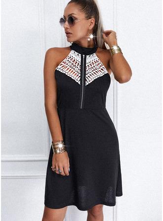 Lace Sheath Sleeveless Midi Casual Dresses
