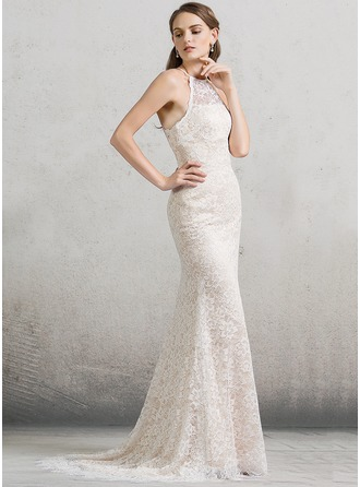 Sheath/Column Scoop Neck Sweep Train Lace Wedding Dress