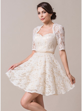 A-Line/Princess Sweetheart Short/Mini Lace Wedding Dress With Sash
