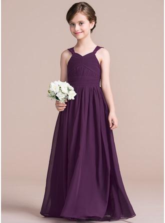 A-Linie/Princess-Linie V-Ausschnitt Bodenlang Chiffon Kleid für junge Brautjungfern mit Rüschen Lace