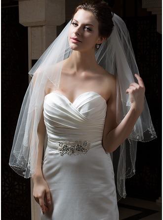2 couches Voile de mariée longueur bout des doigts avec Bord orné de perle/Liseret
