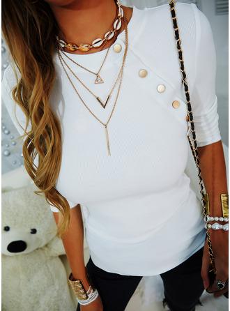 Einfarbig Rundhalsausschnitt Lange Ärmel Lässige Kleidung Blusen (1003254643)