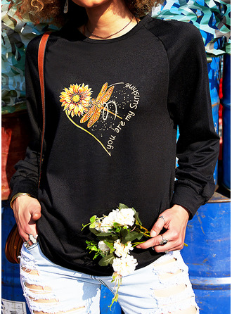 Animal Print Sunflower Print Figure Round Neck Long Sleeves Sweatshirt (1001255344)