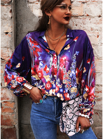 Floral Print V-Neck 3/4 Sleeves Button Up Casual Shirt Blouses (1003251460)