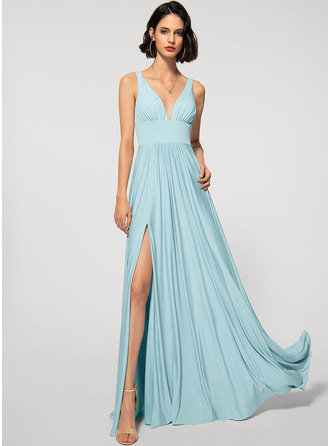 A-Line V-neck Floor-Length Jersey Evening Dress With Split Front