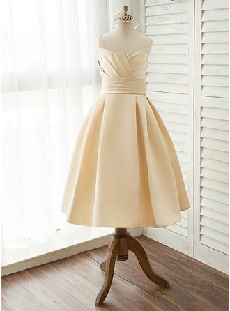 Трапеция/Принцесса Длина ниже колен Нарядные платья для девочек - Атлас Без Рукавов квадратный вырез