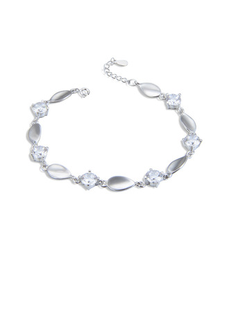 Damer' Vackra Och 925 pund Sterling Försilvrar med päron Cylinder Zirkonium Armband Henne/Vänner