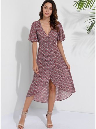 Floral Print A-line Short Sleeves Asymmetrical Boho Casual Vacation Skater Dresses