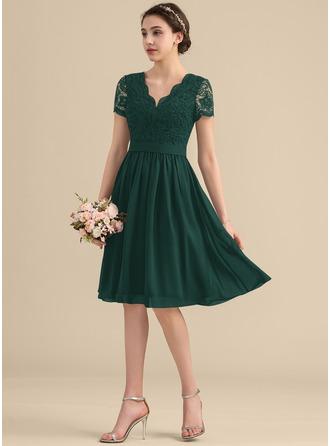 A-Line V-neck Knee-Length Chiffon Lace Homecoming Dress