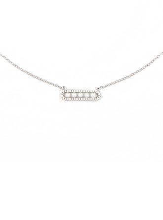 Argento Cubic Zirconia Bar Collana di perle Per donne Per ragazza