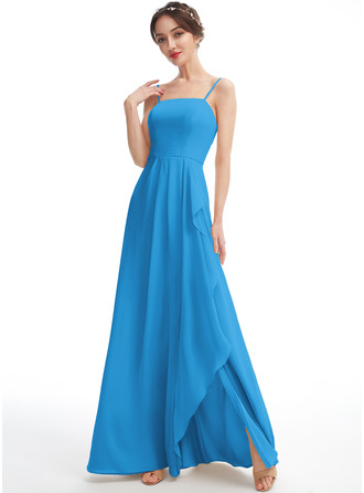 A-Line Square Neckline Floor-Length Bridesmaid Dress With Split Front