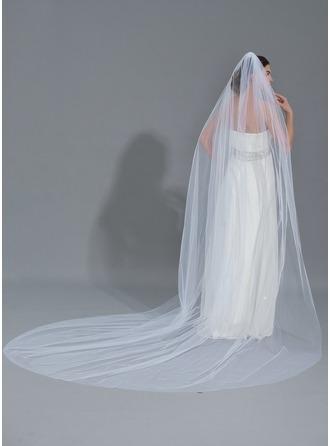 Uma camada Corte da borda Catedral véus de noivas com Aplicação