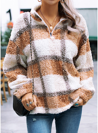 Grid Lapel Long Sleeves Sweatshirt