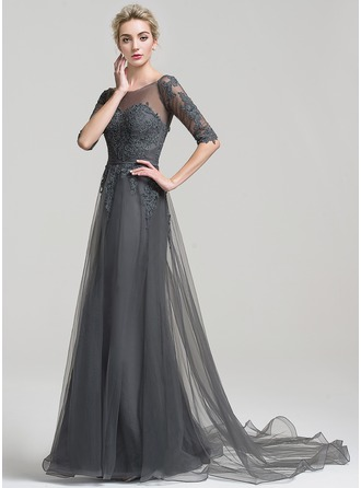 A-Line/Princess Off-the-Shoulder Court Train Tulle Evening Dress