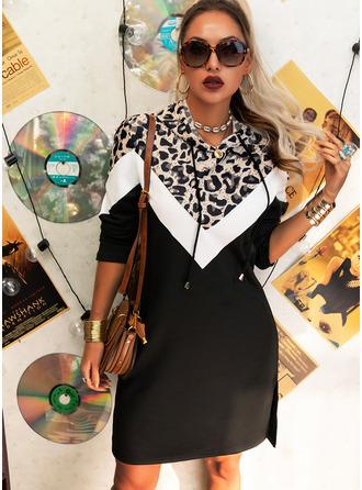 Leopard Color Block Shiftklänningar Långa ärmar Mini Fritids Tröjor Modeklänningar