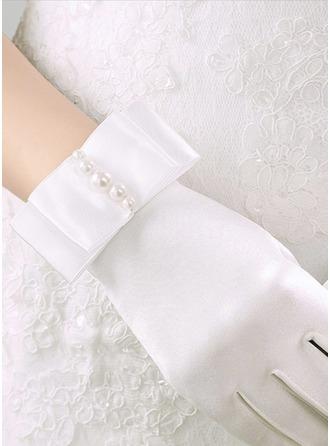 Satijn/Imitatie Parel Wrist Lengte Bruids Handschoenen