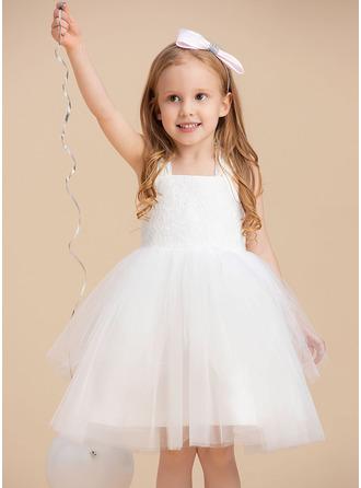 Ball-Gown/Princess Knee-length Flower Girl Dress - Tulle Sleeveless Straps