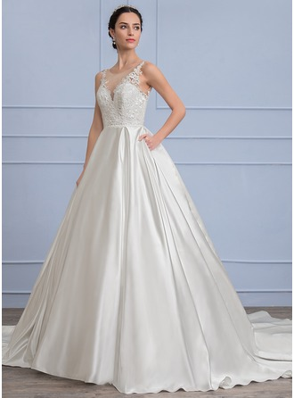 Ball-Gown Scoop Neck Chapel Train Satin Lace Wedding Dress