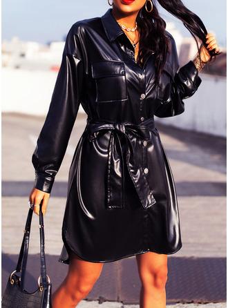 Solid Sheath Long Sleeves Mini Little Black Casual Shirt Dresses