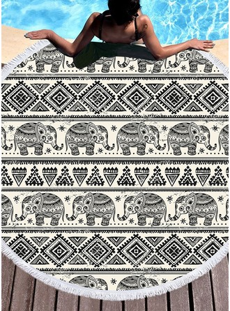Retro/Vintage/Elephant round/attractive Beach towel