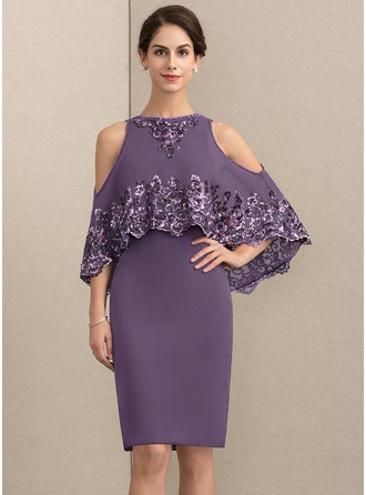 Sheath/Column Scoop Neck Knee-Length Chiffon Sequined Mother of the Bride Dress With Beading