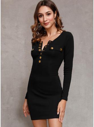 Couleur Unie Moulante Manches Longues Mini Petites Robes Noires Décontractée Élégante Robes tendance