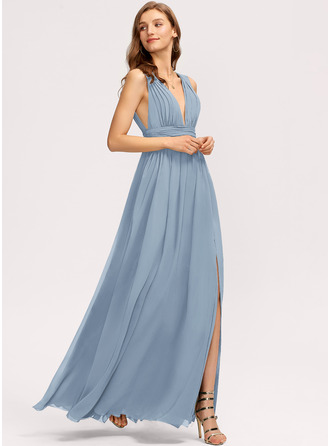 A-Line V-neck Floor-Length Prom Dresses