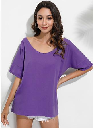 Solid Short Sleeves Polyester V Neck T-shirt Blouses