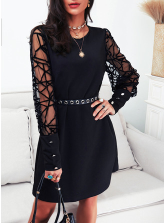 Solid Sheath Long Sleeves Mini Little Black Party Dresses