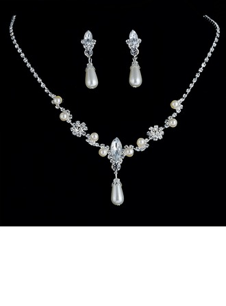 Shining Alloy Rhinestones Imitation Pearls Women's Jewelry Sets
