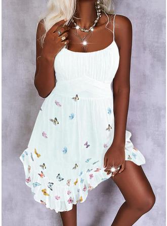 Print Dier A-lijn-jurk Mouwloos Mini Casual schaatser Typ ()