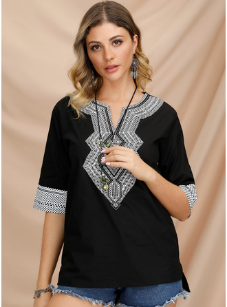Print V-Neck 3/4 Sleeves Casual