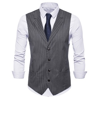 Stripe Polyester Viscose Heren vest